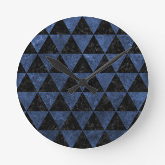 TRIANGLE3 BLACK MARBLE & BLUE STONE WALLCLOCK