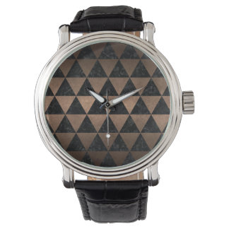 TRIANGLE3 BLACK MARBLE & BRONZE METAL WATCH