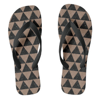 TRIANGLE3 BLACK MARBLE & BROWN COLORED PENCIL FLIP FLOPS