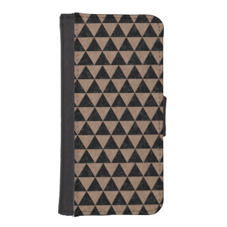 TRIANGLE3 BLACK MARBLE & BROWN COLORED PENCIL iPhone SE/5/5s WALLET CASE
