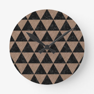 TRIANGLE3 BLACK MARBLE & BROWN COLORED PENCIL ROUND CLOCK