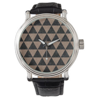 TRIANGLE3 BLACK MARBLE & BROWN COLORED PENCIL WATCH