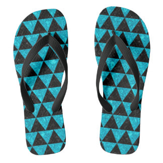 TRIANGLE3 BLACK MARBLE & TURQUOISE MARBLE FLIP FLOPS