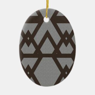 Triangle and Diamond Gray Pattern Ceramic Ornament