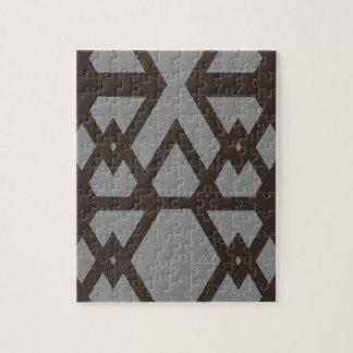 Triangle and Diamond Gray Pattern Jigsaw Puzzle