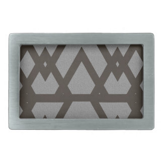 Triangle and Diamond Gray Pattern Rectangular Belt Buckle
