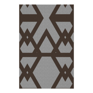 Triangle and Diamond Gray Pattern Stationery