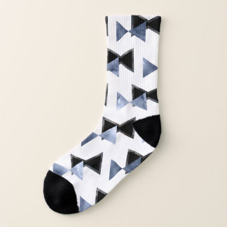 Triangle bowtie watercolor marble print socks