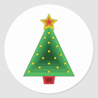 Triangle Christmas Tree Round Sticker