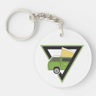 triangle classic green bus keychain