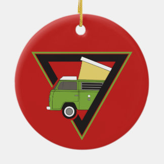 triangle classic green camper van ceramic ornament