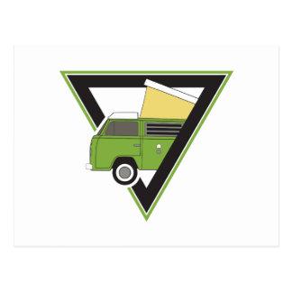 triangle classic green camper van postcard