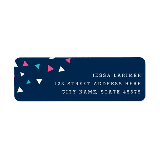 Triangle Confetti Return Address Labels / Navy