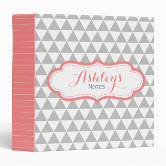 Triangle Coral Gray Personalized School Binder