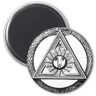 Triangle Freemason Snake 2 Inch Round Magnet