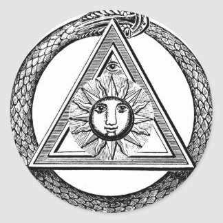 Triangle Freemason Snake Classic Round Sticker