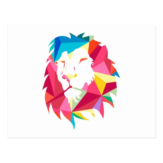 Triangle Geomatric Lion Postcard