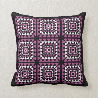 Triangle Geometric Pattern  Pink On Black Pillow