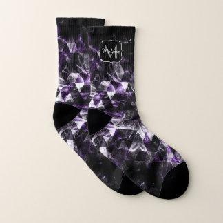 Triangle Geometric Purple Smoky Galaxy Monogram Socks