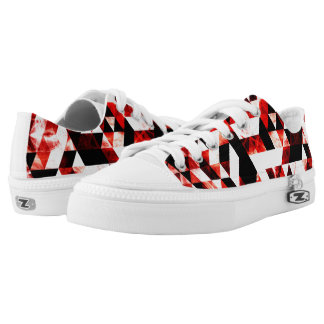 Triangle Geometric Vibrant Red Smoky Galaxy Low-Top Sneakers