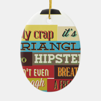 triangle hipster and breath ceramic oval ornament