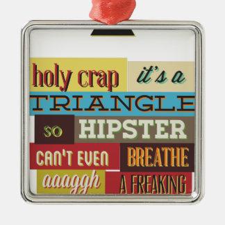 triangle hipster and breath Silver-Colored square ornament