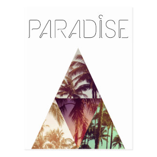 Triangle hipster palms paradise postcard