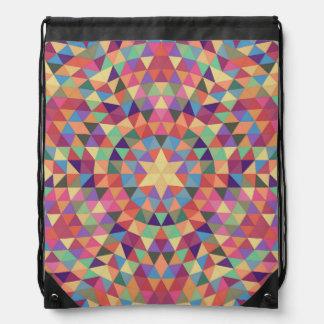 Triangle mandala 1 drawstring bag