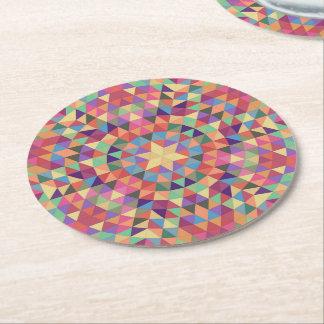 Triangle mandala 1 round paper coaster