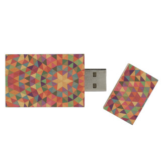 Triangle mandala 1 wood USB 3.0 flash drive