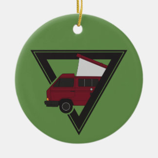 triangle maroon bus ceramic ornament