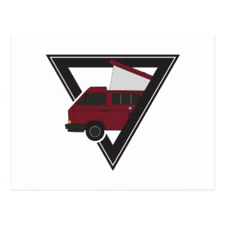 triangle maroon bus postcard