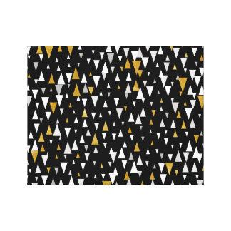 Triangle Modern Art - Black Gold Canvas Print