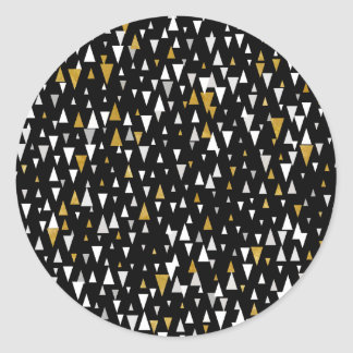 Triangle Modern Art - Black Gold Classic Round Sticker