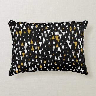 Triangle Modern Art - Black Gold Decorative Pillow