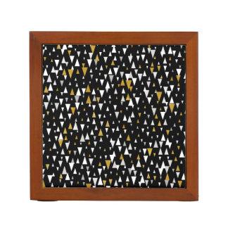 Triangle Modern Art - Black Gold Desk Organizer
