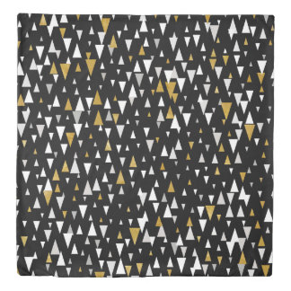 Triangle Modern Art - Black Gold Duvet Cover