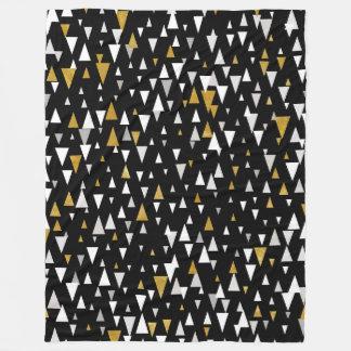 Triangle Modern Art - Black Gold Fleece Blanket