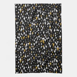 Triangle Modern Art - Black Gold Kitchen Towel