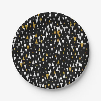 Triangle Modern Art - Black Gold Paper Plate