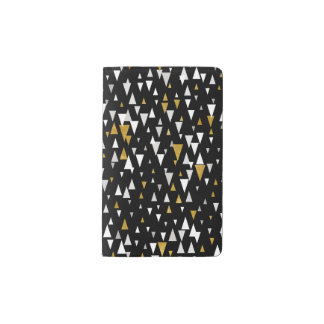 Triangle Modern Art - Black Gold Pocket Moleskine Notebook