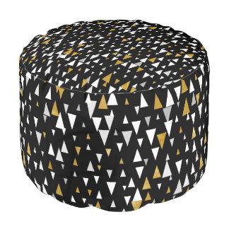 Triangle Modern Art - Black Gold Pouf