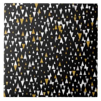 Triangle Modern Art - Black Gold Tile