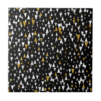 Triangle Modern Art - Black Gold Tile