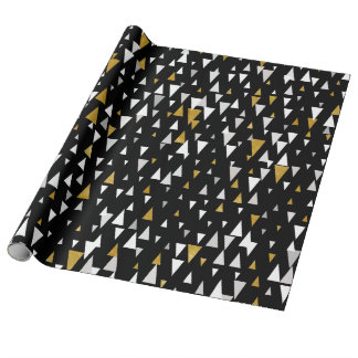 Triangle Modern Art - Black Gold Wrapping Paper