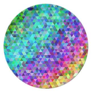 Triangle mosaic rainbow plate
