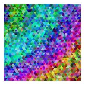 Triangle mosaic rainbow poster