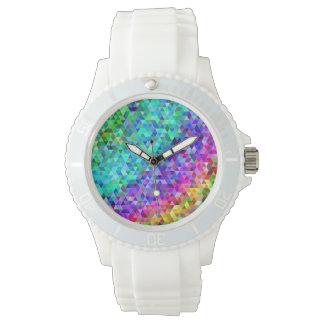 Triangle mosaic rainbow wrist watches