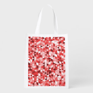 Triangle Pattern Red Pink Tones Reusable Grocery Bag
