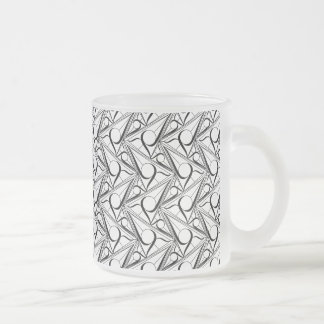 Triangle pattern with circle frosted glass coffee mug